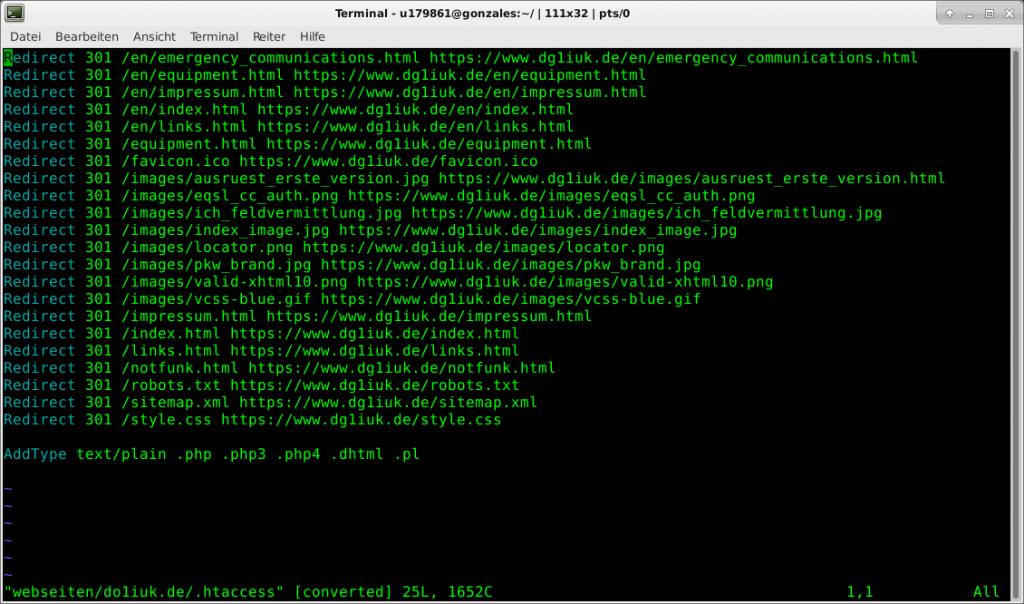 Screenshot .htaccess do1iuk.de