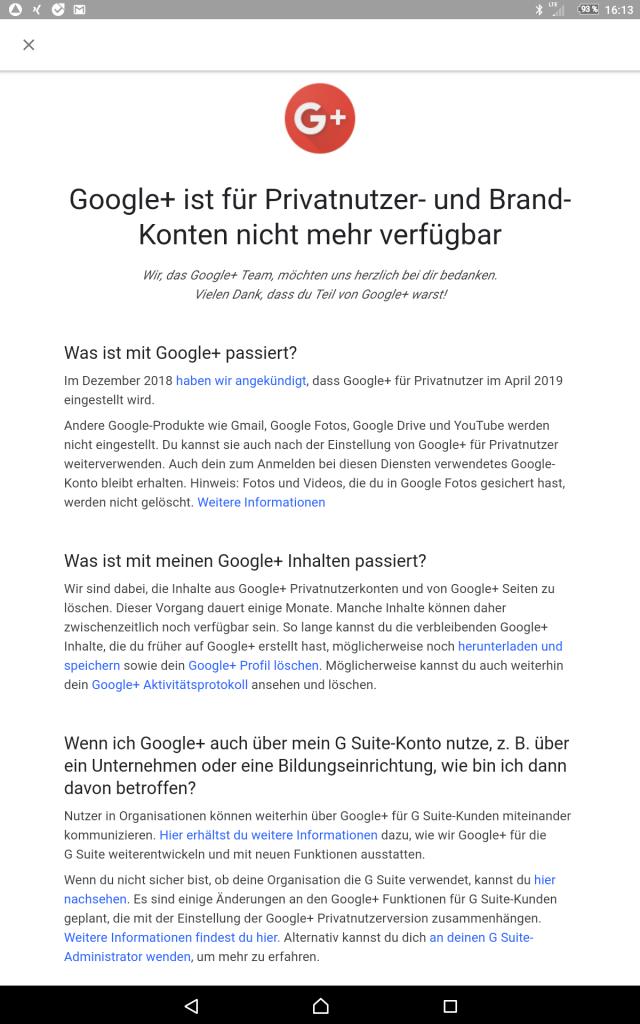 Screenshot Google+ Abschaltung